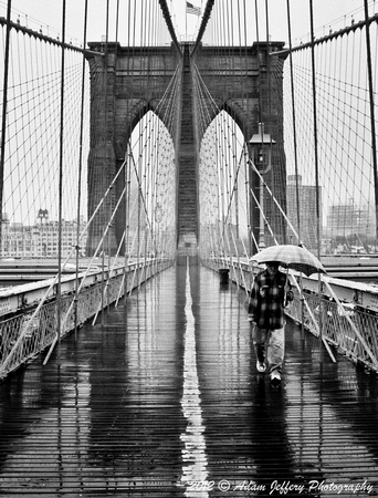 Brooklyn Bridge Rainy Day Man